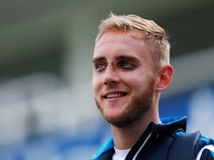 Stuart Broad of England talks to members of the media during an England Nets Session at The Kia Oval on August 14, 2014