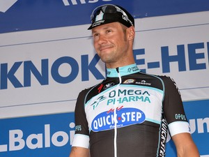 Belgium's Tom Boonen of team Omega Pharma - Quick Step poses on the podium after winning the second stage of the Baloise Belgium Tour cycling race, 170 km from Lierde to Knokke-Heist, on May 29, 2014