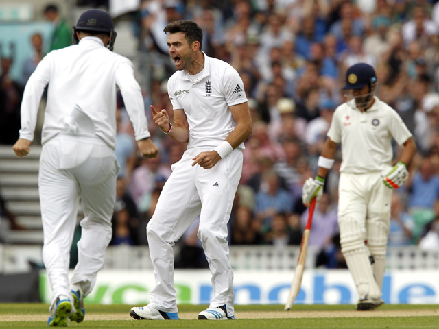 Englands James Anderson celebrates taking the wicket of Indias Murali Vijay for 2 runs on the third day of the fifth cricket Test match between England and India at The Oval cricket ground in London on August 17, 2014