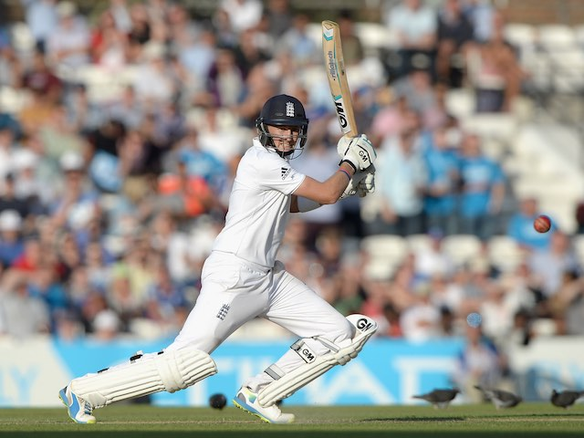 Joe Root batting on day two of England's fifth Test with India on August 16, 2014