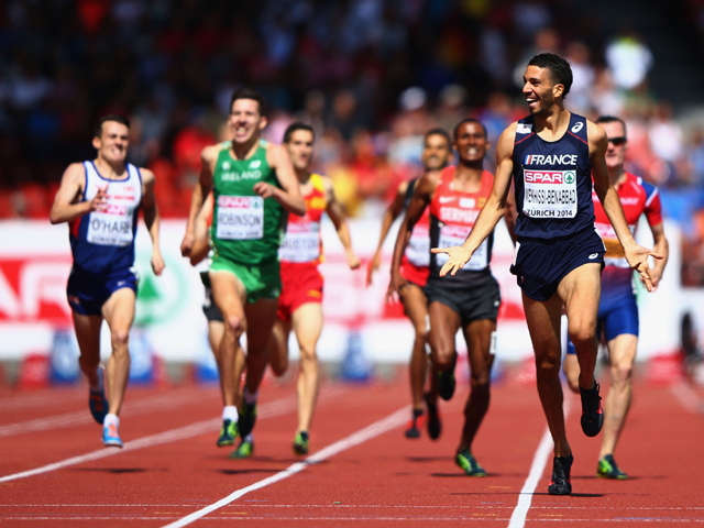 Mahiedine Mekhissi-Benabbad of France celebrates as he approaches the finish line to win gold in the Men's Iveta Putalova of Slovakia metres final during day six of the 22nd European Athletics Championships at Stadium Letzigrund on August 17, 2014