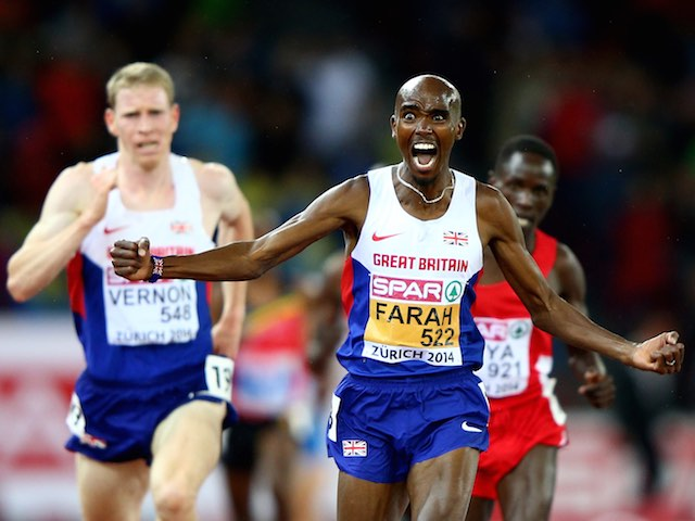 Mo Farah celebrates winning gold in the men's 10,000m, while teammate Andy Vernon takes silver in Zurich on August 13, 2014