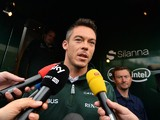 Germany's Andre Lotterer talks to the media in the paddock at the Spa-Francorchamps circuit in Spa on August 22, 2014