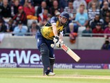 William Porterfield of Birmingham Bears hits out during the Natwest T20 Blast Semi Final match between Birmingham Bears and Surrey at Edgbaston on August 23, 2014