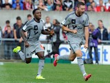 Marseille's French forward Andre-Pierre Gignac celebrates after scoring a goal during the French L1 football match Guingamp vs Marseille on August 23, 2014
