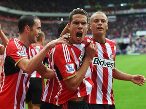 Jack Rodwell of Sunderland celebrates scoring his goal during the Barclays Premier League match between Sunderland and Manchester United on August 24, 2014