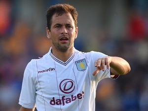Joe Cole of Aston Villa gestures during the pre-season friendly match between Mansfield and Aston Villa at the One Call Stadium on July 17, 2014