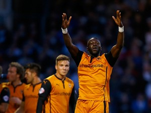 Bakaray Sako of Wolverhampton Wanderers celebrates his goal during the Sky Bet Championship match between Fulham and Wolverhampton Wanderers at Craven Cottage on August 20, 2014