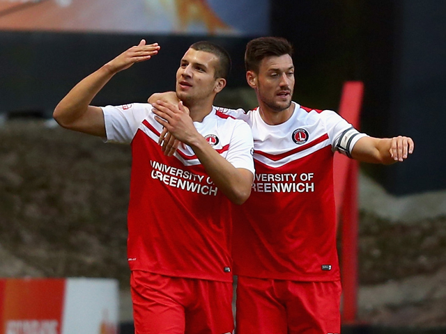 George Tucudean of Charlton celebrates his goal during the Sky Bet Championship match between Charlton Athletic and Derby County at The Valley on August 19, 2014