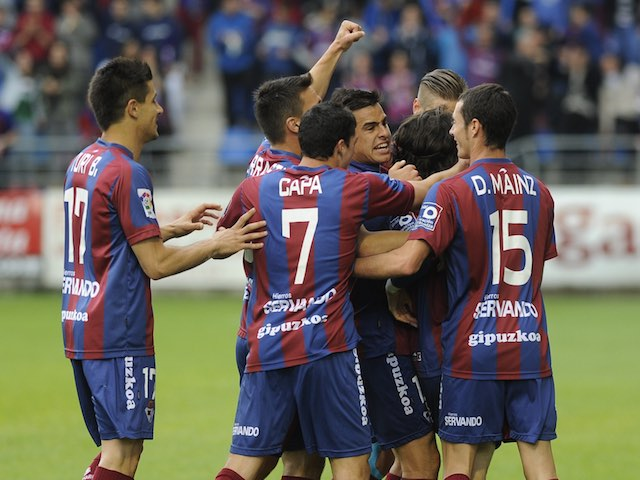 An assortment of Eibar players celebrate their promotion on May 31, 2014