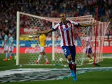 Joao Miranda of Atletico de Madrid celebrates scoring their opening goal during the La Liga match between Club Atletico de Madrid and SD Eibar at Vicente Calderon Stadium on A