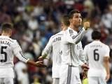Cristiano Ronaldo celebrates scoring a last-minute goal for Real Madrid against Cordoba on August 25, 2014