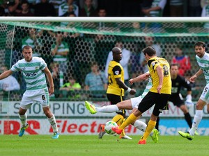 Conor Hourihane of Barnsley scores his side's first goal during the Sky Bet League One match between Yeovil Town and Barnsley at Huish Park on August 30, 2014