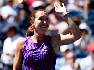 Jelena Jankovic of Serbia reacts after defeating Johanna Larsson of Sweden in their women's singles third round match on Day Five of the 2014 US Open at the USTA Billie Jean King National Tennis Center on August 29, 2014