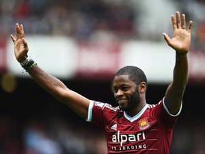 Alex Song of West Ham United acknowledges the fans as he joins the club on loan prior to the Barclays Premier League match between West Ham United and Southampton at Boleyn Ground on August 30, 2014