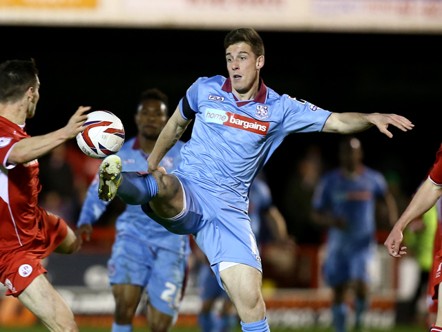Cole Stockton of Tranmere reaches for the ball during the Sky Bet League One match between Crawley Town and Tranmere Rovers at The Checkatrade.com Stadium on April 15, 2014