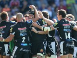 Exeter Chiefs celebrate after a try in their 52-0 victory during the Aviva Premiership match between London Welsh and Exeter Chiefs at the Kassam Stadium on September 7, 2014
