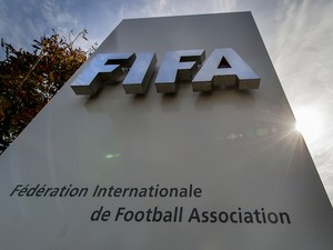 Picture of the logo of the Global football's governing body FIFA taken on October 3, 2013