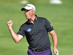 Graeme Storm of England celebrates holeing a putt on the 17th hole during the third round of the Omega European Masters at Crans-sur-Sierre Golf Club on September 6, 2014