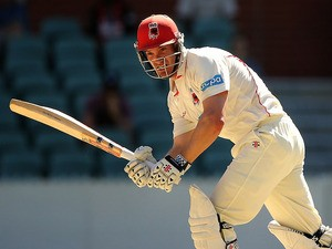 Michael Klinger of the Redbacks bats during day one of the Sheffield Shield match between South Australia and New South Wales at Adelaide Oval on March 3, 2014