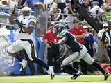 Tight end Antonio Gates #85 of the San Diego Chargers catches a pass for a touchdown against the Seattle Seahawks on September 14, 2014