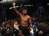 Floyd Mayweather Jr. celebrates after defeating Marcos Maidana by majority decision in their WBC/WBA welterweight unification fight at the MGM Grand Garden Arena on May 3, 2014