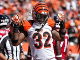 Jeremy Hill #32 of the Cincinnati Bengals celebrates after scoring a touchdown during the third quarter against the Atlanta Falcons on September 14, 2014