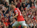 Manchester United's Spanish midfielder Ander Herrera celebrates scoring their second goal during the English Premier League football match between Manchester United and Queens Park Rangers at Old T