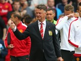Manchester United Manager Louis van Gaal gives a thumbs up prior to the