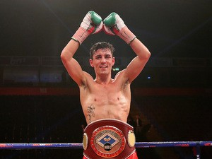 Anthony Crolla celebrates after victory over John Murray during the WBO Inter-Continental Lightweight Title fight on April 8, 2014