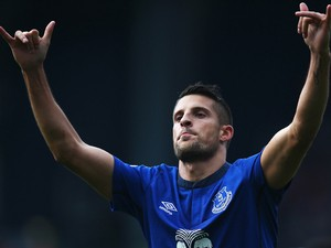 Kevin Mirallas of Everton celebrates scoring his goal during the Barclays Premier League match between West Bromwich Albion and Everton at The Hawthorns on September 13, 2014
