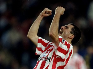 Francis Benali of Southampton celebrates team mate Neil Shipperley's winning goal during an FA Carling Premiership match against Wimbledon at Selhurst Park in London on 28 October, 1995