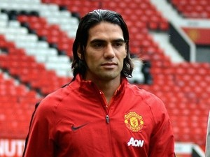 Radamel Falcao of Manchester United is introduced to the press on September 11, 2014