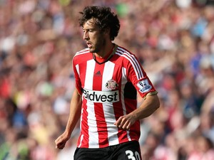 Will Buckley of Sunderland controls the ball during the Barclays Premier League match between Sunderland and Tottenham Hotspur at Stadium of Light on September 13, 2014