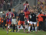 Bayern Munich's German defender Jerome Boateng celebrates his goal during the first leg UEFA Champions League Group E football match Borussia FC Bayern Munchen v Manchester City in Munich, Germany on Sept