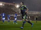 Kike of Middlesbrough celebrates scoring his team's 3rd goal during the Capital One Cup First Round match between Oldham Athletic and Middlesbrough at Boundary Park on August 12, 2014