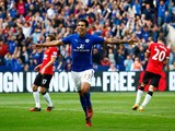 Leonardo Ulloa of Leicester City scores his team's fifth goal from the penalty spot during the Barclays Premier League match between Leicester City and Manchester United at The King Power Stadium on September 21, 2014