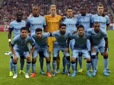 Manchester City players pose prior the first leg UEFA Champions League Group E football match Borussia FC Bayern Munchen v Manchester City in Munich, Germany on September 17, 2014