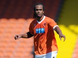 Nathan Delfouneso of Blackpool in action during the Pre Season Friendly match between Blackpool and Burnley at Bloomfield Road on August 2, 2014