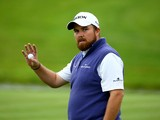 Shane Lowry of Ireland aknowledges the crowd on the 18th green during the second round of the ISPS Handa Wales Open at Celtic Manor Resort on September 19, 2014