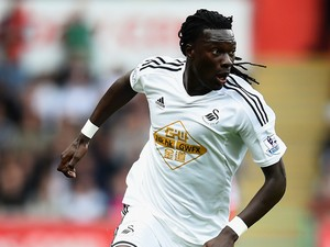 Bafetimbi Gomis of Swansea City during the Barclays Premier League match between Swansea City and West Bromwich Albion at Liberty Stadium on August 30, 2014
