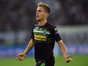 Monchengladbach's midfielder Patrick Herrmann celebrates after scoring during the UEFA Europa League Group A match VfL Borussia Monchengladbach vs Villarreal CF on September 18, 2014