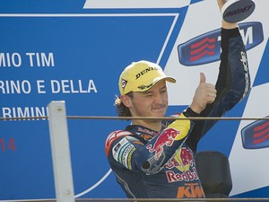 Jack Miller of Australia and Red Bull KTM Ajo celebrates the third place on the podium at the end of the Moto3 race during the MotoGP of San Marino - Race at Misano World Circuit on September 14, 2014