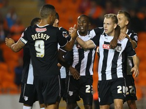 Matej Vydra of Watford celebrates with teammates after scoring the opening goal during the Sky Bet Championship match against Blackpool on September 16, 2014
