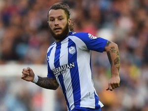 Stevie May of Sheffield Wednesday in action during the Sky Bet Championship match between Sheffield Wednesday and Millwall at Hillsborough Stadium on August 19, 2014