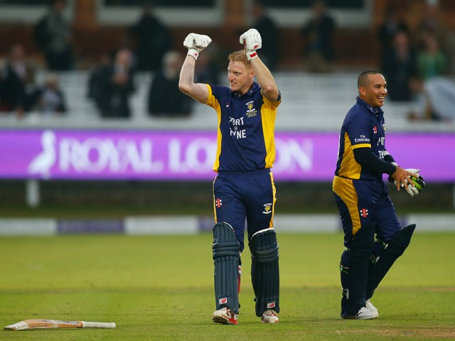 Ben Stokes and Gareth Breese of Durham celebrate winning the Royal London One-Day Cup Final between Warwickshire and Durham at Lord's Cricket Ground on September 20, 2014