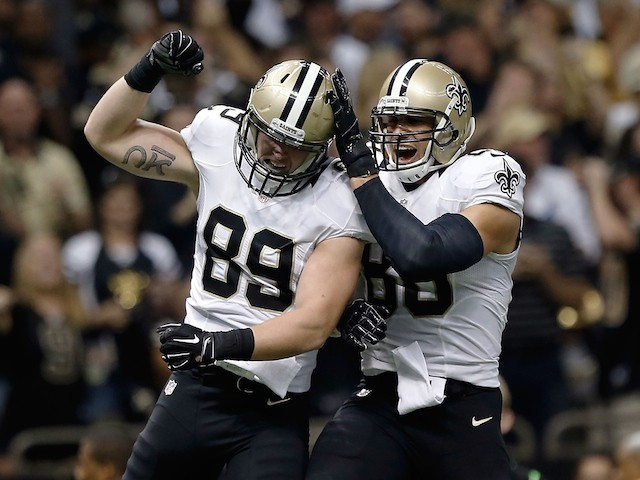 Josh Hill and Jimmy Graham #80 of the New Orleans Saints celebrate a touchdown during the first quarter of a game against the Minnesota Vikings on September 21, 2014