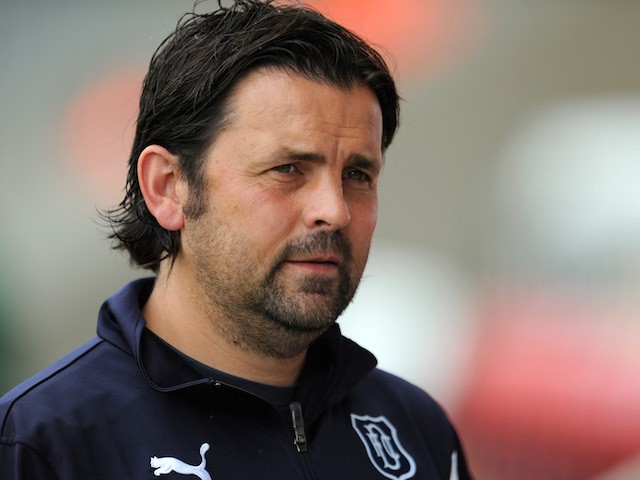 Paul Hartley manager of Dundee during the Pre Season Friendly match between Morecambe and Dundee at the Globe Arena on July 19, 2014