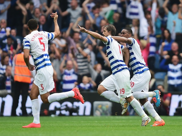 Niko Kranjcar of QPR celebrates scoring with a free kick during the Barclays Premier League match between Queens Park Rangers and Stoke City at Loftus Road on September 20, 2014