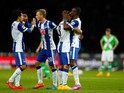 Salomon Kalou of Hertha BSC celebrates with team mates after scoring a goal during the Hertha BSC v VfL Wolfsburg - Bundesliga match at Olympiastadion on September 24, 2014